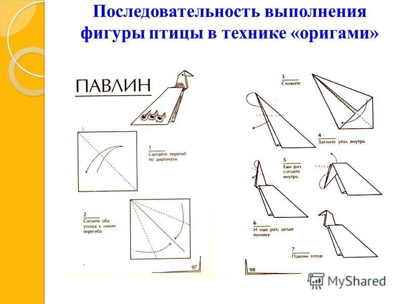 Последовательность выполнения фигуры птицы в технике «оригами»