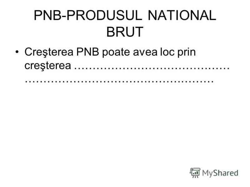 PNB-PRODUSUL NATIONAL BRUT Creşterea PNB poate avea loc prin creşterea …………………………………… ……………………………………………