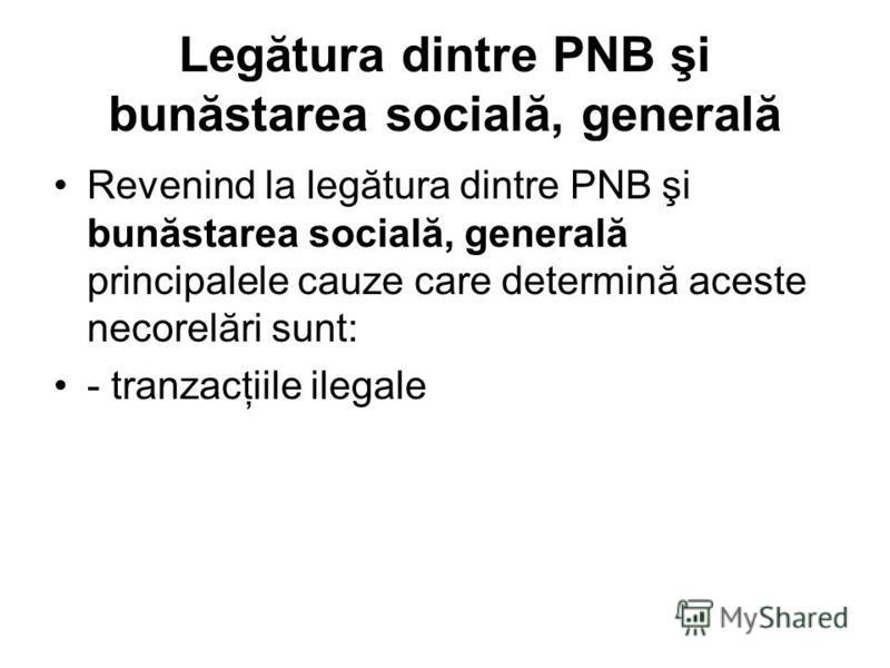 Legătura dintre PNB şi bunăstarea socială, generală Revenind la legătura dintre PNB şi bunăstarea socială, generală principalele cauze care determină aceste necorelări sunt: - tranzacţiile ilegale