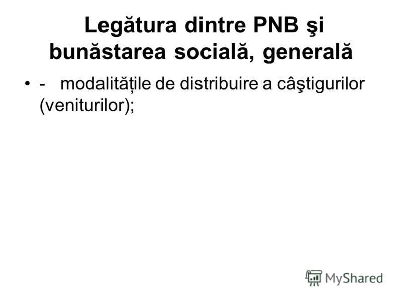 Legătura dintre PNB şi bunăstarea socială, generală - modalităţile de distribuire a câştigurilor (veniturilor);
