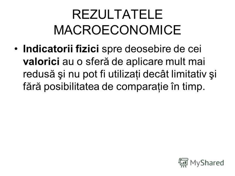 REZULTATELE MACROECONOMICE Indicatorii fizici spre deosebire de cei valorici au o sferă de aplicare mult mai redusă şi nu pot fi utilizaţi decât limitativ şi fără posibilitatea de comparaţie în timp.