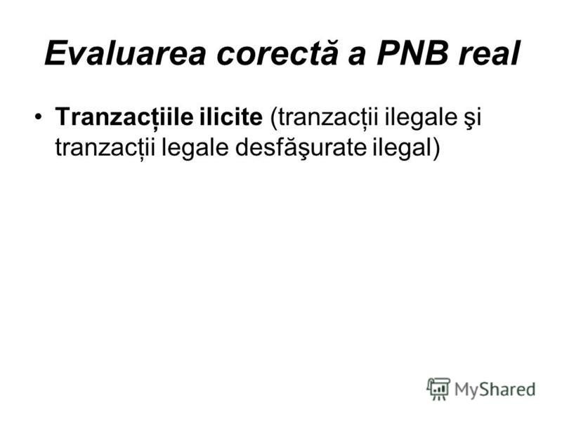 Evaluarea corectă a PNB real Tranzacţiile ilicite (tranzacţii ilegale şi tranzacţii legale desfăşurate ilegal)