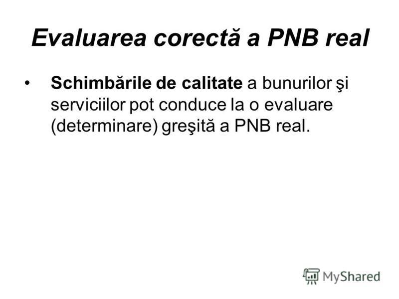 Evaluarea corectă a PNB real Schimbările de calitate a bunurilor şi serviciilor pot conduce la o evaluare (determinare) greşită a PNB real.