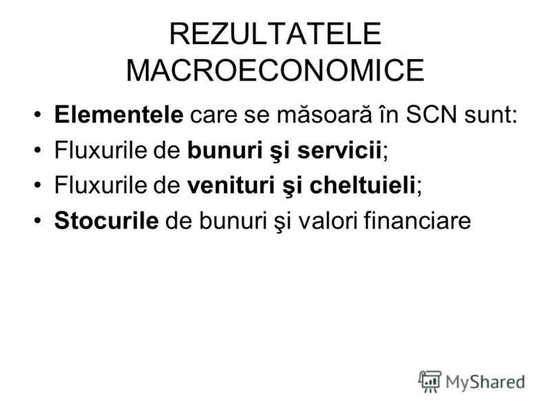 REZULTATELE MACROECONOMICE Elementele care se măsoară în SCN sunt: Fluxurile de bunuri şi servicii; Fluxurile de venituri şi cheltuieli; Stocurile de bunuri şi valori financiare