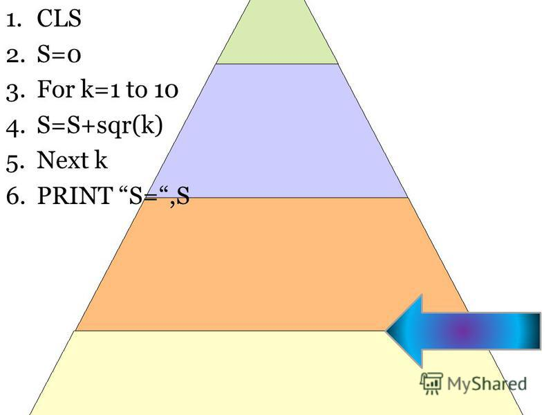 1. CLS 2.S=0 3. For k=1 to 10 4.S=S+sqr(k) 5. Next k 6. PRINT S=,S