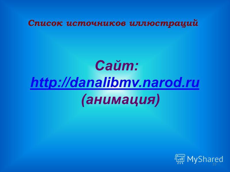 33 Список источников иллюстраций Сайт: http://danalibmv.narod.ru (анимация)