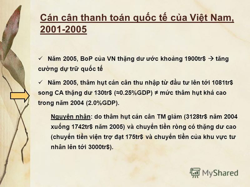 Cán cân thanh toán quc t ca Vit Nam, 2001-2005 Năm 2005, BoP ca VN thng dư ưc khong 1900tr$ tăng cưng d tr quc t Năm 2005, thâm ht cán cân thu nhp t đu tư lên ti 1081tr$ song CA thng dư 130tr$ (0.25%GDP) mc thâm ht khá cao trong năm 2004 (2.0%GDP). N