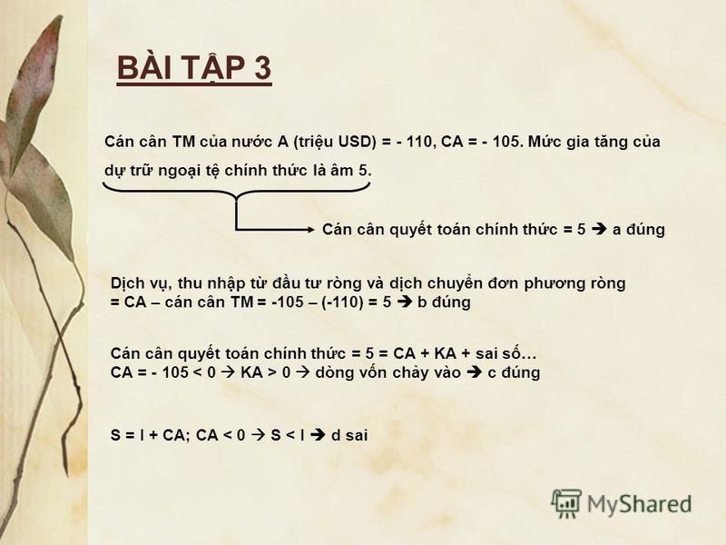 BÀI TP 3 Cán cân TM ca nưc A (triu USD) = - 110, CA = - 105. Mc gia tăng ca d tr ngoi t chính thc là âm 5. Cán cân quyt toán chính thc = 5 a đúng Dch v, thu nhp t đu tư ròng và dch chuyn đơn phương ròng = CA – cán cân TM = -105 – (-110) = 5 b đúng Cá