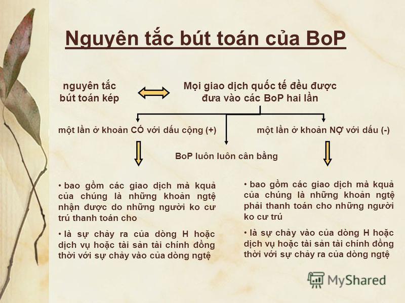 Nguyên tc bút toán ca BoP nguyên tc bút toán kép Mi giao dch quc t đu đưc đưa vào các BoP hai ln mt ln khon CÓ vi du cng (+)mt ln khon N vi du (-) bao gm các giao dch mà kqu ca chúng là nhng khon ngt nhn đưc do nhng ngưi ko cư trú thanh toán cho là s
