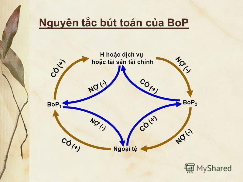 Nguyên tc bút toán ca BoP BoP 1 BoP 2 H hoc dch v hoc tài sn tài chính Ngoi t CÓ (+) N (-) CÓ (+)