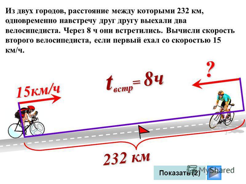 Показать (2) Из двух городов, расстояние между которыми 232 км, одновременно навстречу друг другу выехали два велосипедиста. Через 8 ч они встретились. Вычисли скорость второго велосипедиста, если первый ехал со скоростью 15 км/ч. 232 км 15 км/ч t вс