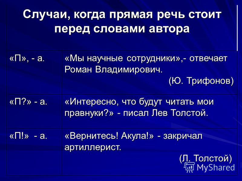 Случаи, когда прямая речь стоит перед словами автора «П», - а. «Мы научные сотрудники»,- отвечает Роман Владимирович. (Ю. Трифонов) (Ю. Трифонов) «П?» - а. «Интересно, что будут читать мои правнуки?» - писал Лев Толстой. «П!» - а. «Вернитесь! Акула!»