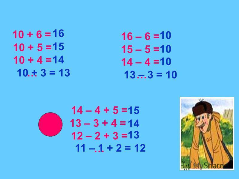 10 + 6 = 10 + 5 = 10 + 4 = … 16 – 6 = 15 – 5 = 14 – 4 = … 14 – 4 + 5 = 13 – 3 + 4 = 12 – 2 + 3 = … 16 15 14 10 10 10 15 14 13 10 + 3 = 13 13 – 3 = 10 11 – 1 + 2 = 12