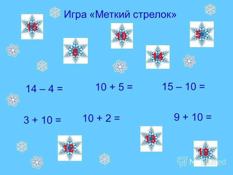 Игра «Меткий стрелок» 14 – 4 = 15 – 10 = 3 + 10 = 10 + 5 = 10 + 2 = 9 + 10 = 10 13 15 12 5 19 6 14