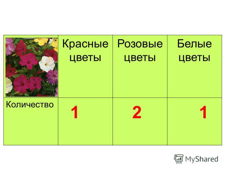 Красные цветы Розовые цветы Белые цветы Количество 1 2 1