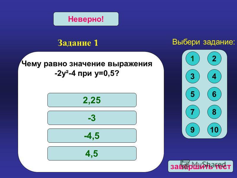 Задание 1 Верно!Неверно! завершить тест Чему равно значение выражения -2 у²-4 при у=0,5? 2,25 -3 -4,5 4,5 Выбери задание: 12 34 56 78 910