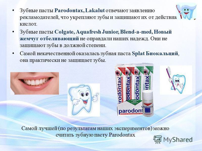 Зубные пасты Parodontax, Lakalut отвечают заявлению рекламодателей, что укрепляют зубы и защищают их от действия кислот. Зубные пасты Colgate, Aquafresh Junior, Blend-a-med, Новый жемчуг отбеливающий не оправдали наших надежд. Они не защищают зубы в
