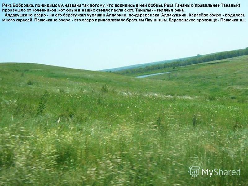 Река Бобровка, по-видимому, названа так потому, что водились в ней бобры. Река Тананык (правильнее Таналык) произошло от кочевников, которые в наших степях пасли скот. Таналык - телячья река. Алдакушкино озеро - на его берегу жил чувашин Алдаркин, по