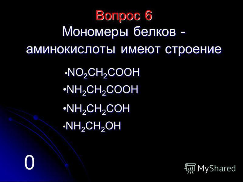 Вопрос 6 Мономеры белков - аминокислоты имеют строение N N ОООО 2222 CCCC HHHH 2222 CCCC OOOO OOOO HHHH N HHHH 2222 CCCC HHHH 2222 CCCC OOOO OOOO HHHH N HHHH 2222 CCCC HHHH 2222 CCCC OOOO HHHH N HHHH 2222 CCCC HHHH 2222 OOOO HHHH 0