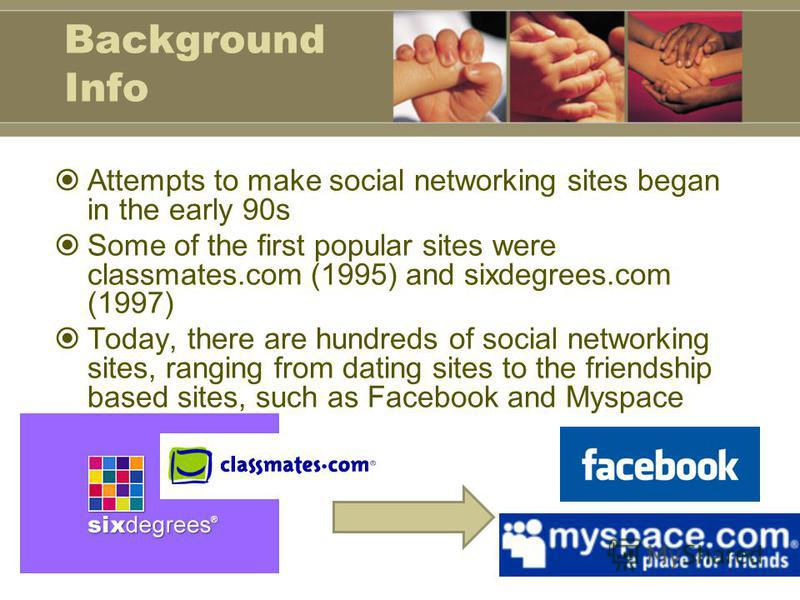 Background Info Attempts to make social networking sites began in the early 90s Some of the first popular sites were classmates.com (1995) and sixdegrees.com (1997) Today, there are hundreds of social networking sites, ranging from dating sites to th