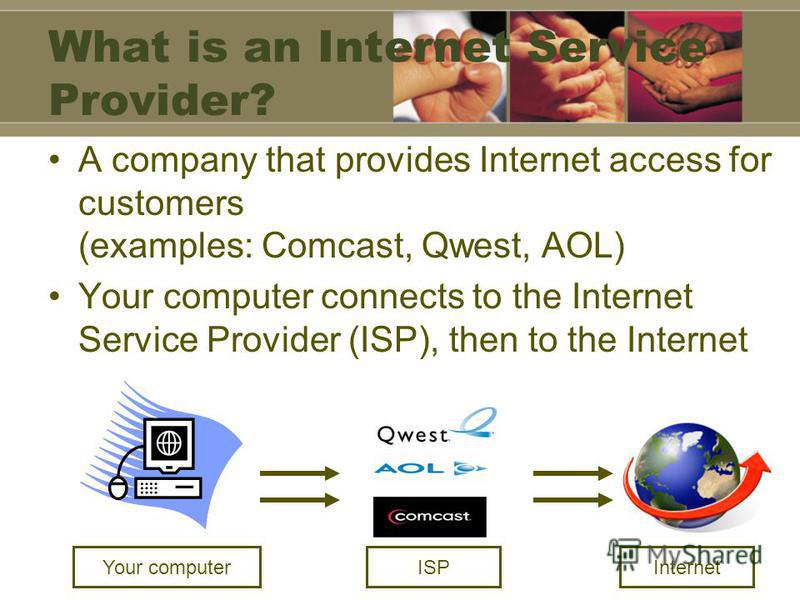 What is an Internet Service Provider? A company that provides Internet access for customers (examples: Comcast, Qwest, AOL) Your computer connects to the Internet Service Provider (ISP), then to the Internet Your computerInternetISP