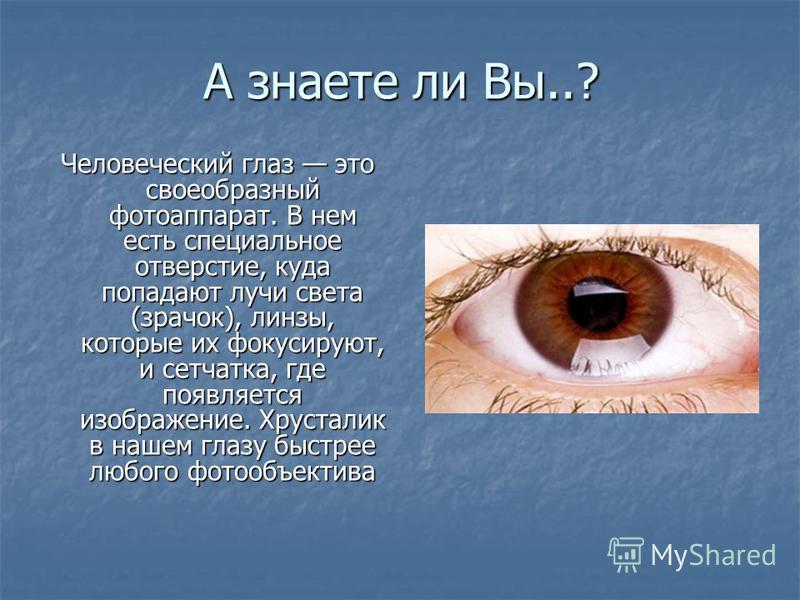 А знаете ли Вы..? Человеческий глаз это своеобразный фотоаппарат. В нем есть специальное отверстие, куда попадают лучи света (зрачок), линзы, которые их фокусируют, и сетчатка, где появляется изображение. Хрусталик в нашем глазу быстрее любого фотооб
