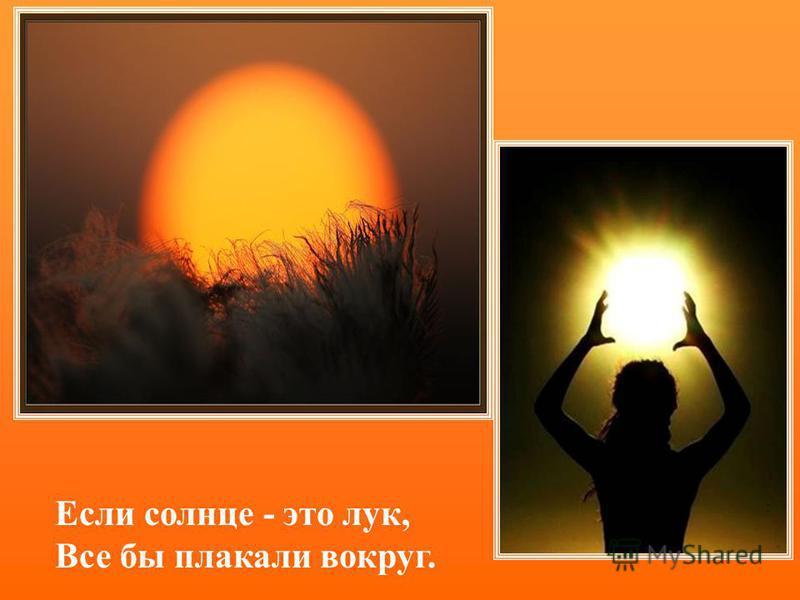 Если солнце - это лук, Все бы плакали вокруг.