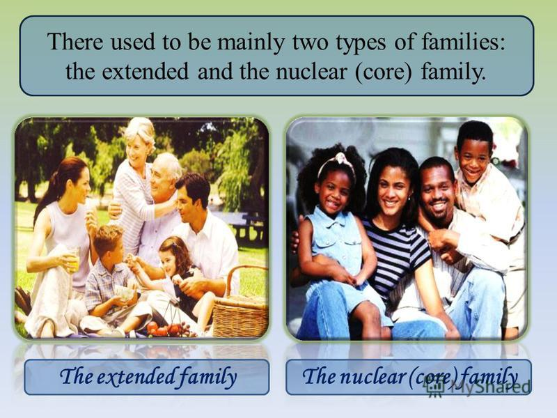There used to be mainly two types of families: the extended and the nuclear (core) family. The extended familyThe nuclear (core) family