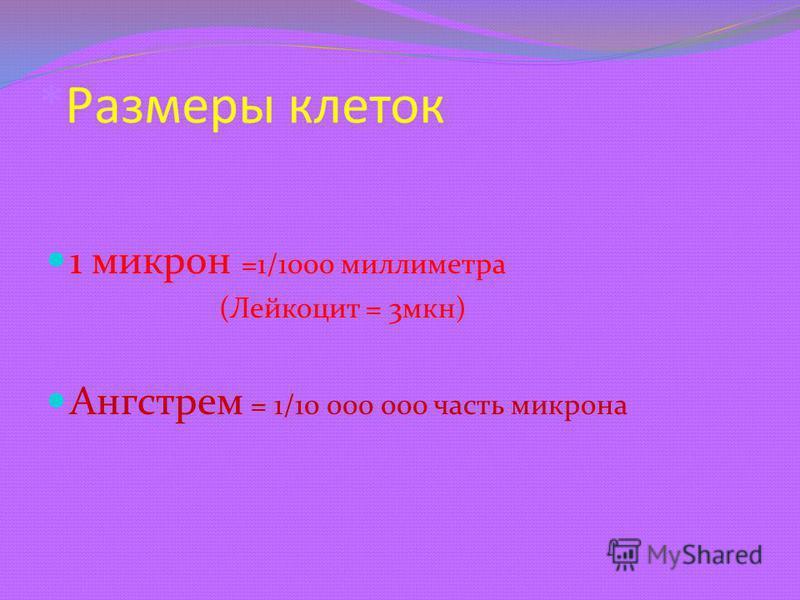 *Размеры клеток 1 микрон =1/1000 миллиметра (Лейкоцит = 3 мкн) Ангстрем = 1/10 000 000 часть микрона
