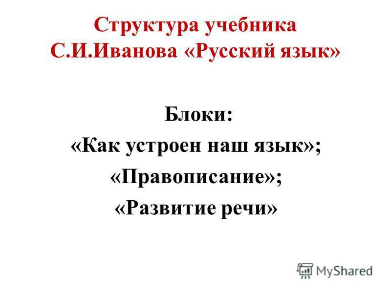 Структура учебника С.И.Иванова «Русский язык» Блоки: «Как устроен наш язык»; «Правописание»; «Развитие речи»