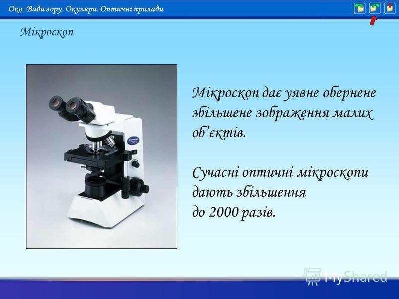 Мікроскоп Око. Вади зору. Окуляри. Оптичні прилади Мікроскоп дає уявне обернене збільшене зображення малих обєктів. Сучасні оптичні мікроскопи дають збільшення до 2000 разів.