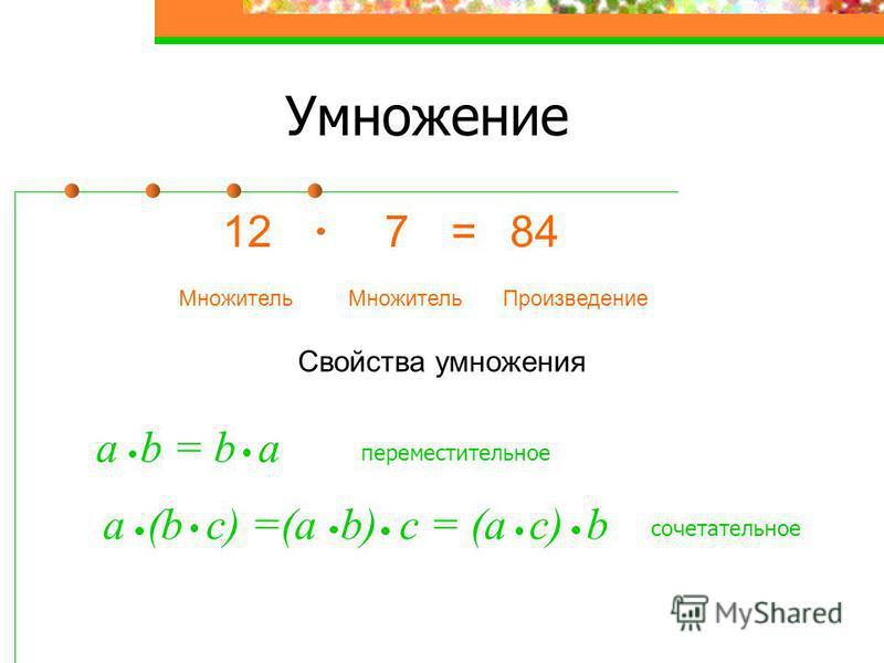 Умножение 127=84 Множитель Произведение Свойства умножения a b = b a переместительное a (b с) =(а b) с = (а с) b сочетательное