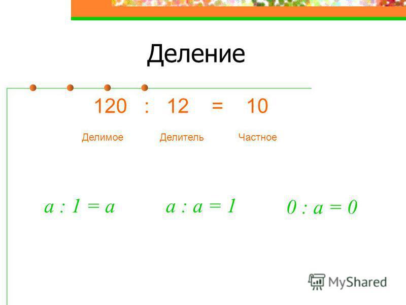 Деление 120 : 12 = 10 Делитель ДелимоеЧастное a : 1 = a a : а = 1 0 : а = 0
