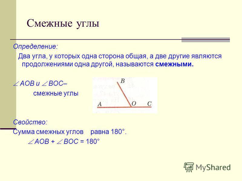 Смежные углы Определение: Два угла, у которых одна сторона общая, а две другие являются продолжениями одна другой, называются смежными. АОВ и ВОС– смежные углы Свойство: Сумма смежных углов равна 180°. АОВ + ВОС = 180°