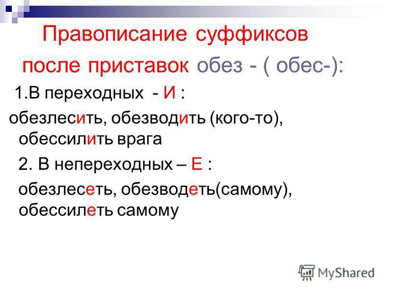 Правописание суффиксов после приставок обез - ( обвес-): 1. В переходных - И : обезлесить, обезводить (кого-то), обвессилить врага 2. В непереходных – Е : обезлесоть, обезводоть(самому), обвессилоть самому