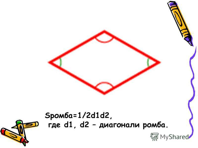 Sромба=1/2d1d2, где d1, d2 – диагонали ромба.
