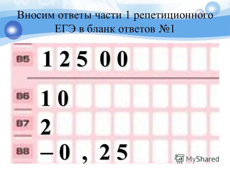 Вносим ответы части 1 репетиционного ЕГЭ в бланк ответов 1 1 2 5 0 0 1 0 2 – 0, 2 5