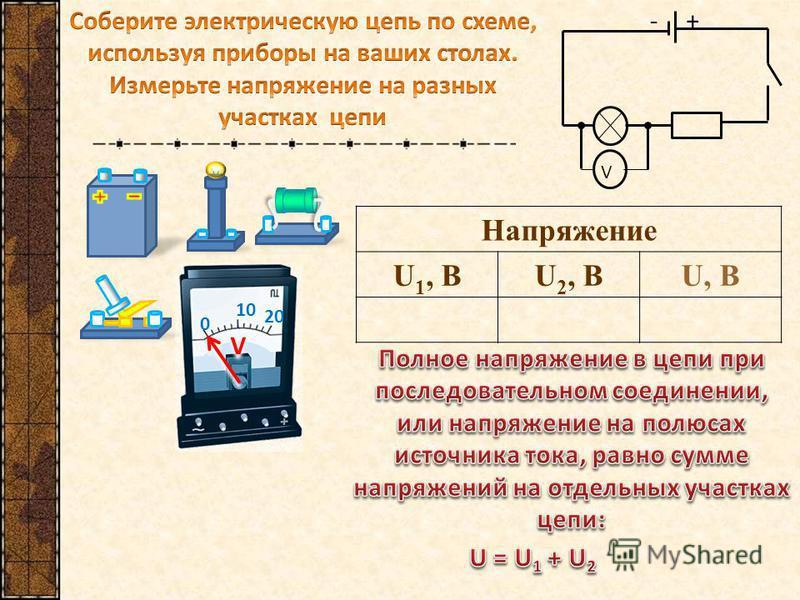 -+ V 0 10 20 V V Напряжение U 1, ВU 2, ВU, В