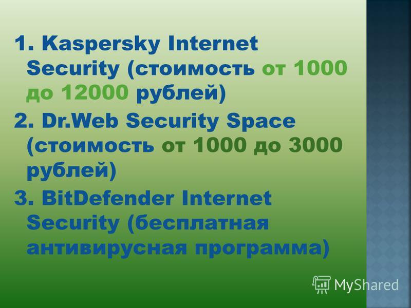 1. Kaspersky Internet Security (стоимость от 1000 до 12000 рублей) 2. Dr.Web Security Space (стоимость от 1000 до 3000 рублей) 3. BitDefender Internet Security (бесплатная антивируссная программа)