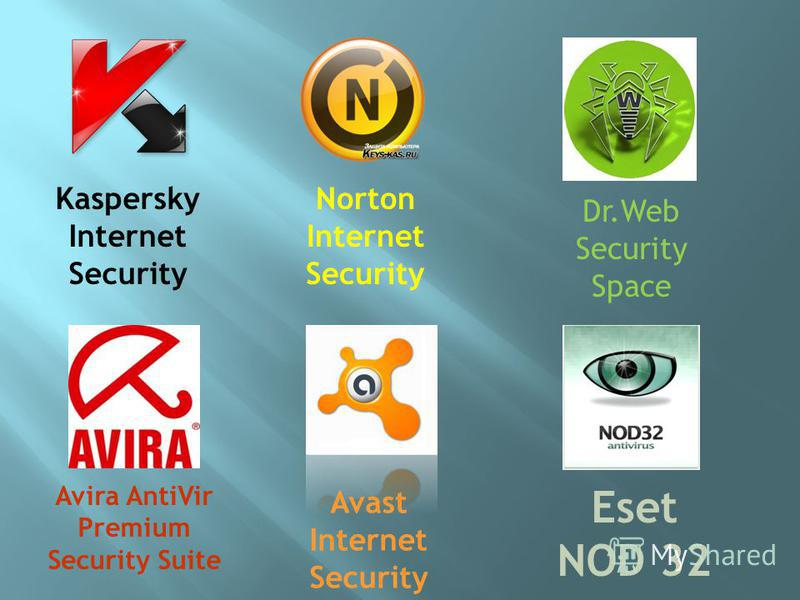 Avast Internet Security Avira AntiVir Premium Security Suite Dr.Web Security Space Eset NOD 32 Kaspersky Internet Security Norton Internet Security