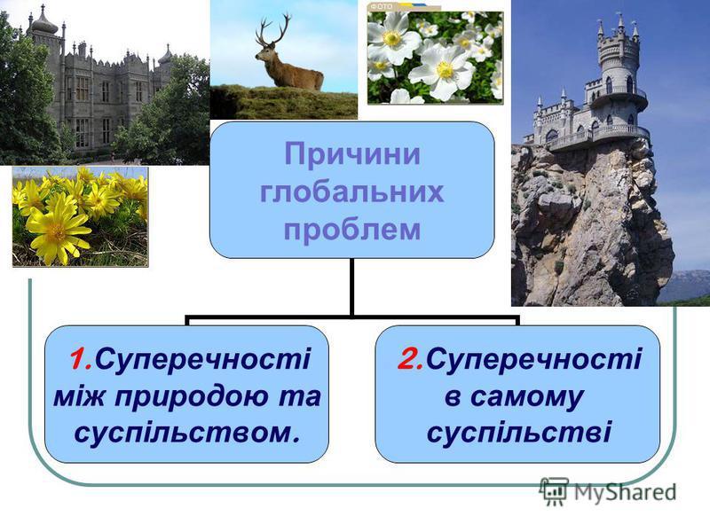 Причини глобальних проблем 1. Суперечності між природою та суспільством. 2. Суперечності в самому суспільстві