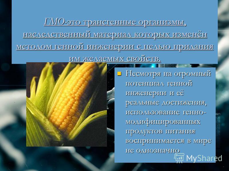 ГМО-это трансгенные организмы, наследственный материал которых изменён методом генной инженерии с целью придания им желаемых свойств. Несмотря на огромный потенциал генной инженерии и её реальные достижения, использование генно- модифицированных прод