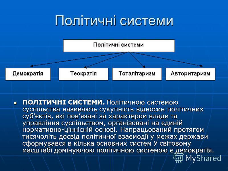 Політичні системи ПОЛІТИЧНІ СИСТЕМИ. Політичною системою суспільства називають сукупність відносин політичних субєктів, які повязані за характером влади та управління суспільством, організовані на єдиній нормативно-ціннісній основі. Напрацьований про