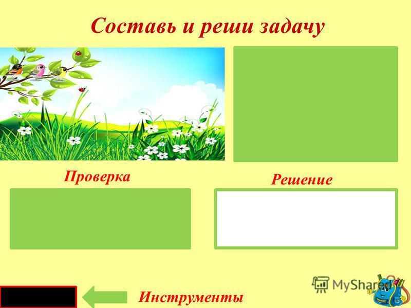 Инструкция 1. Внимательно рассмотри картинки и составь задачу. 2. Подумай, как запишешь краткое условие. 3. Нажми на большой зелёный прямоугольник – это волшебная шторка. Она откроется, и ты сможешь проверить краткое условие задачи. 4. Теперь найди в