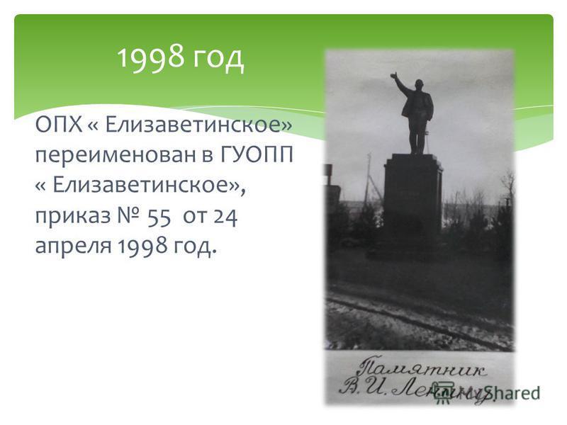 ОПХ « Елизаветинское» переименован в ГУОПП « Елизаветинское», приказ 55 от 24 апреля 1998 год. 1998 год