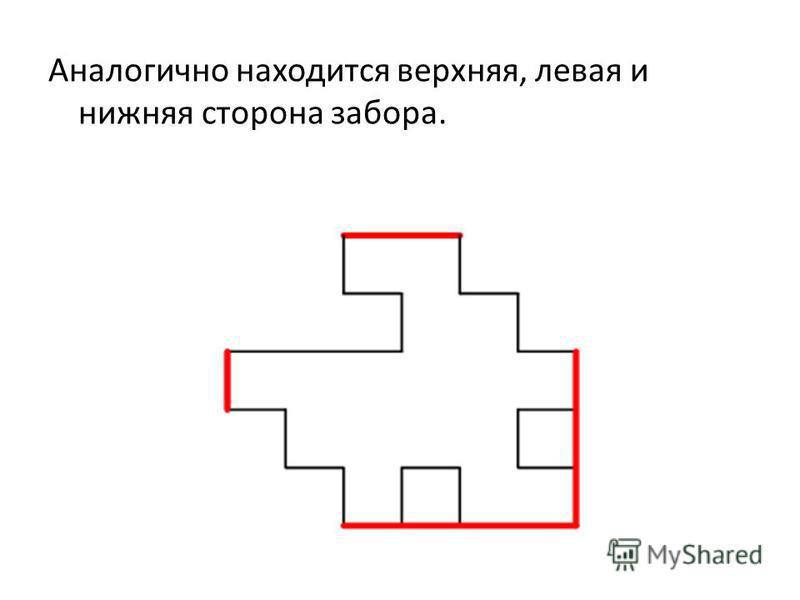 Аналогично находится верхняя, левая и нижняя сторона забора.