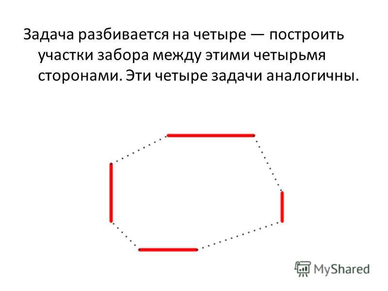 Задача разбивается на четыре построить участки забора между этими четырьмя сторонами. Эти четыре задачи аналогичны.