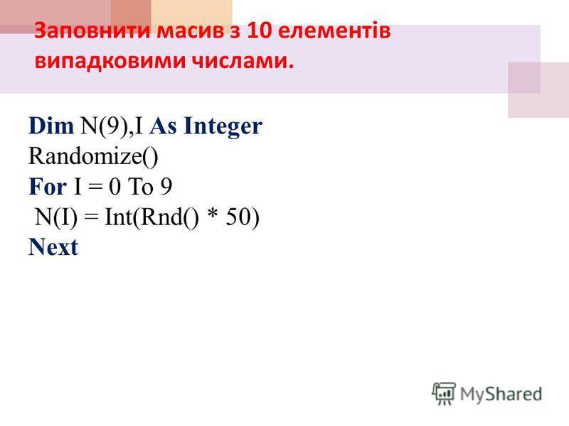 Масив задає користувач Масив задає користувач Назва масиву Розмір масиву Тип Даних масиву наповнення масиву даними Dim А(3) As Integer А(0) = InputBox(