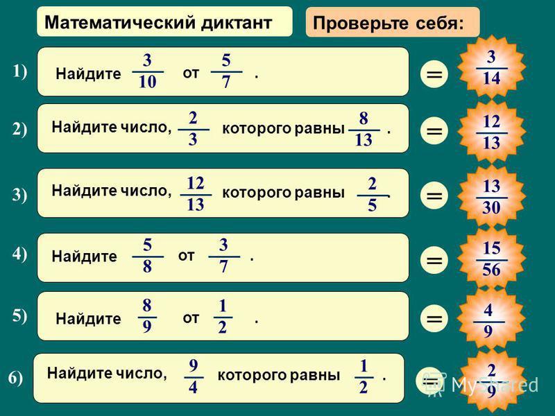 Математический диктант = 3 14 = 1212 1313 = 13 3030 = 15 56 = 2) 2 3 8 1313 Найдите число, которого равны. 1) 3 10 5 7 Найдите от. 4) 5 8 3 7 Найдите от. = 3) 12 1313 2 5 Найдите число, которого равны. 5) 8 9 1 2 Найдите от. 6) 1 2 9 4 Найдите число,