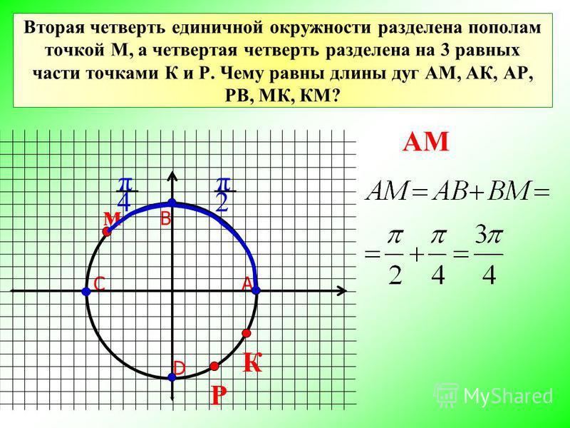 Вторая четверть единичной окружности разделена пополам точкой М, а четвертая четверть разделена на 3 равных части точками К и Р. Чему равны длины дуг АМ, АК, АР, РВ, МК, КМ? АС В D м РК π 2 π 4 АМ